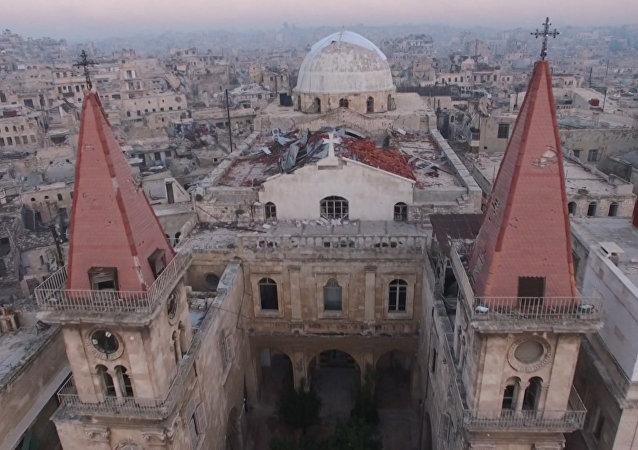 Terroristas implacables: Lo que queda de la Catedral de San Elías en Alepo