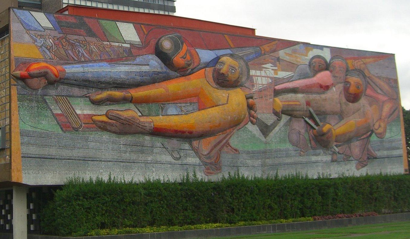 Mural El pueblo a la Universidad y la Universidad al pueblo en la Universidad Nacional Autónoma de México