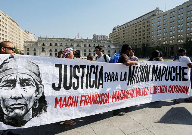 Protesta en Santiago exigiendo la liberación de Francisca Linconao