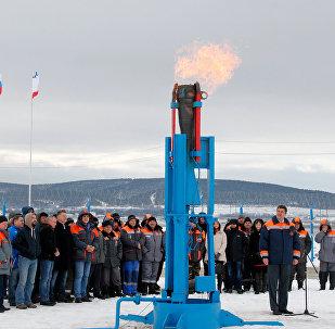 Ceremonia del lanzamiento del gasoducto en Crimea