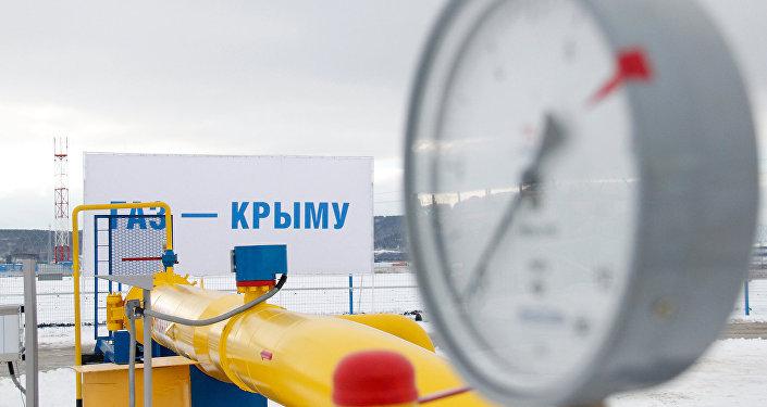 Сeremonia del lanzamiento del gasoducto en Crimea
