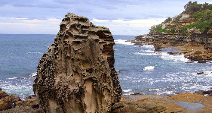 Una roca grande