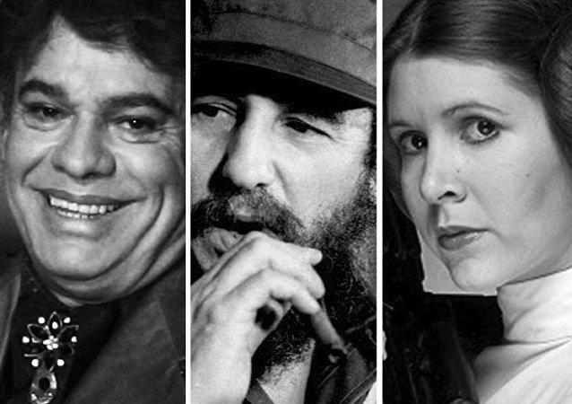 El boxeador Mohamed Alí, el cantautor Juan Gabriel, Fidel Castro y la actriz Carrie Fisher protagonizando a la princesa Leia