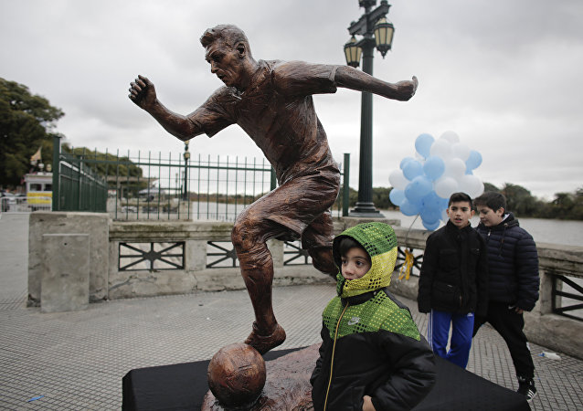 La estatua de Messi en Buenos Aires