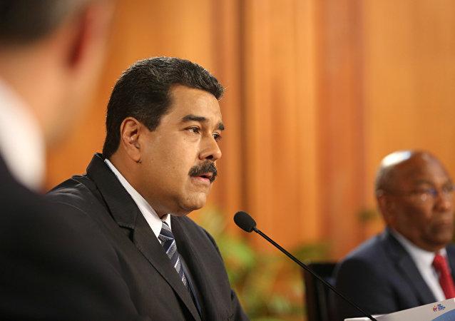 Nicolás Maduro, presidente de Venezuela, durante una reunión con los empresarios venezolanos en Caracas (archivo)