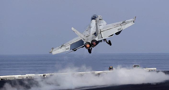 Un caza estadounidense en el golfo Pérsico
