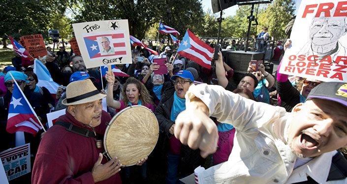 Manifestación a favor de la liberación de Oscar López Rivera