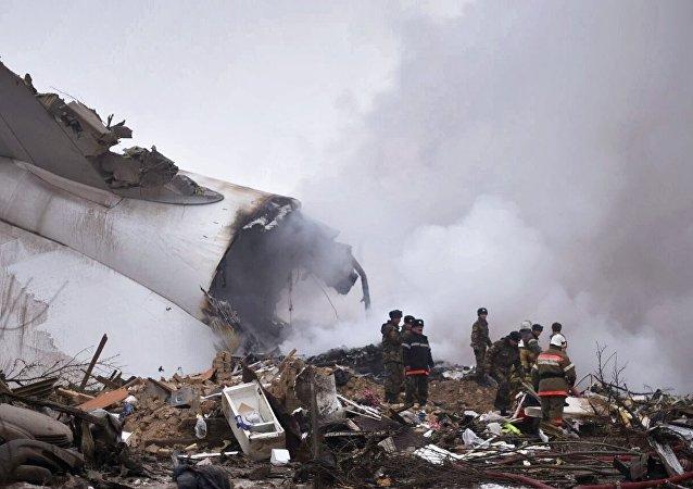 El lugar de la caída del avión Boeing 747 de Turkish Airlines, siniestrado en Kirguistán