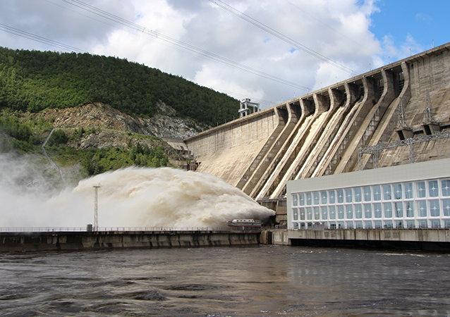 Una central hidroeléctrica (ilustración)