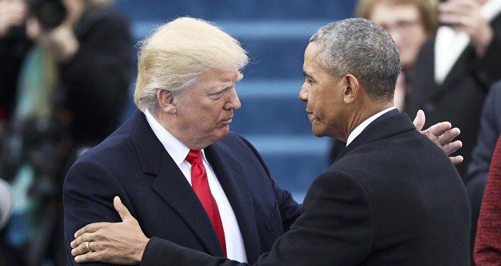 Presidente de EEUU, Donald Trump, y expresidente, Barack Obama