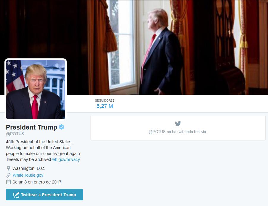 Cuenta de Twitter oficial de Donald Trump, presidente de EEUU