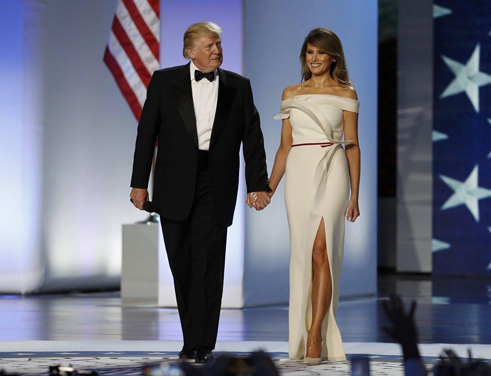 U.S. President Donald Trump and first lady Melania Trump arrive at the Inauguration Freedom Ball in Washington, U.S., January 20, 2017.