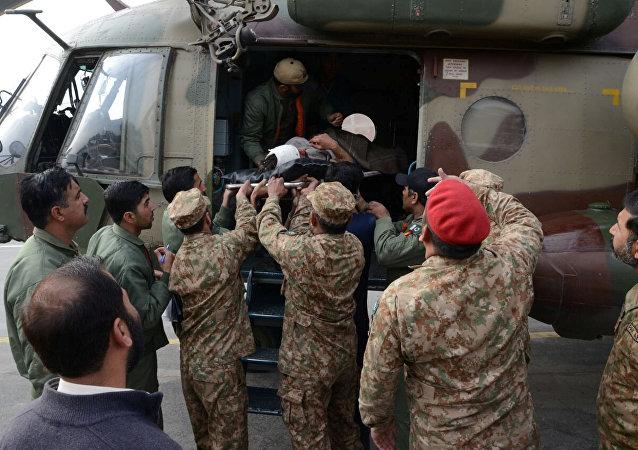 Víctima de la explosión de una bomba en Parachinar