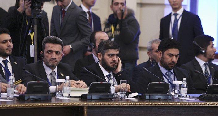 Mohammad Alloush, jefe de la delegación de la oposición siria en Astaná