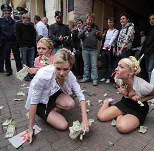 Las activistas del movimiento Femen