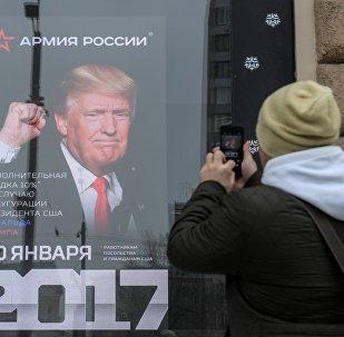 Foto de presidente de EEUU, Donald Trump, en el escaparate de una tienda rusa