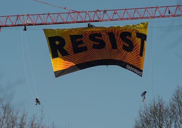 Protesta de Greenpeace en Washington