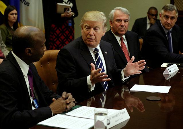 Donald Trump, presidente de EEUU, durante la reunión con los representantes de la industria farmacéutica