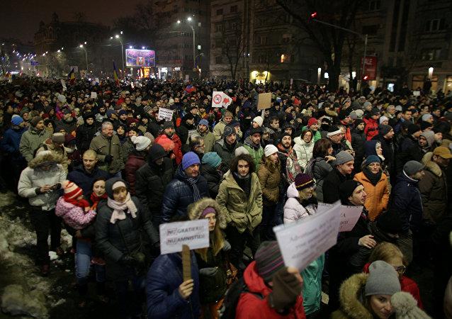 Protesta en Bucarest