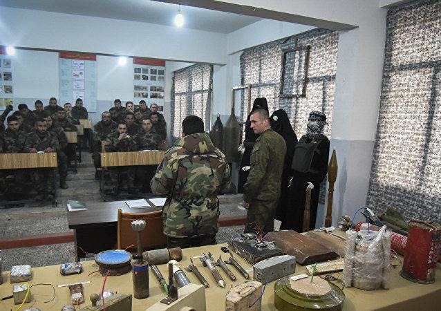 Una filial del сentro antiminas ruso en Alepo