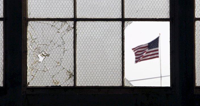 Bandera de Estados Unidos en una base militar