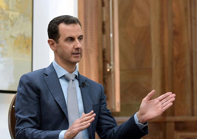 Bashar Asad, presidente de Siria, durante una entrevista a Yahoo News
