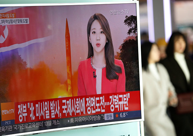 La transmisión del lanzamiento de misil balístico en Corea del Norte