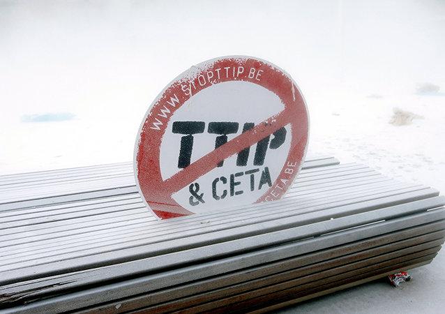 El letrero contra CETA y TTIP