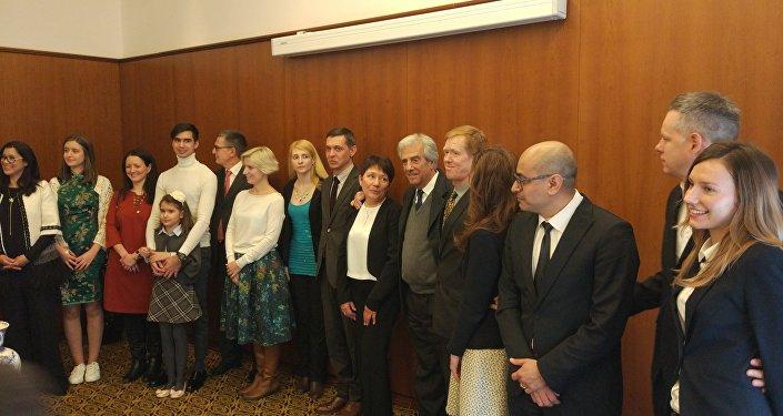 Tabaré Vázquez, presidente de Uruguay, durante una recepción con los uruguayos residentes en Moscú