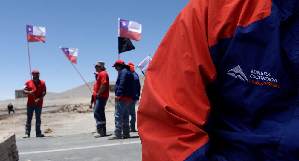 Huelga de trabajadores de la minera Escondida