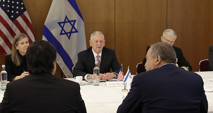U.S. Secretary of Defense Jim Mattis, center, talks to Israeli Defence Minister Avigdor Lieberman prior to the Munich Security Conference in Munich, southern Germany, Friday, Feb. 17, 2017.