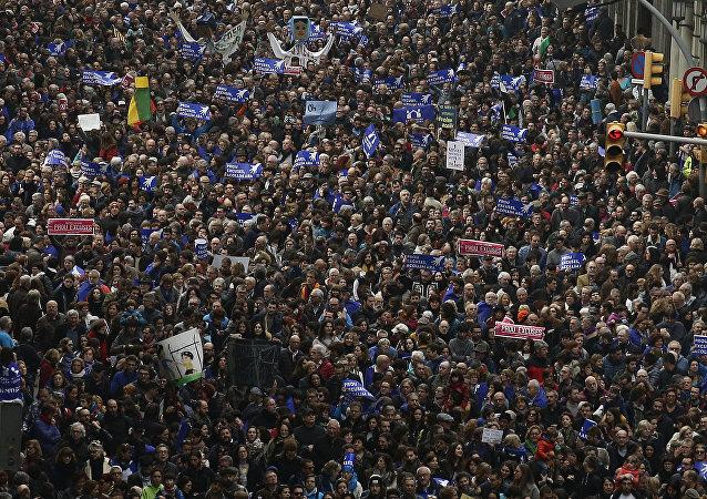 Marcha en Barcelona a favor de los refugiados