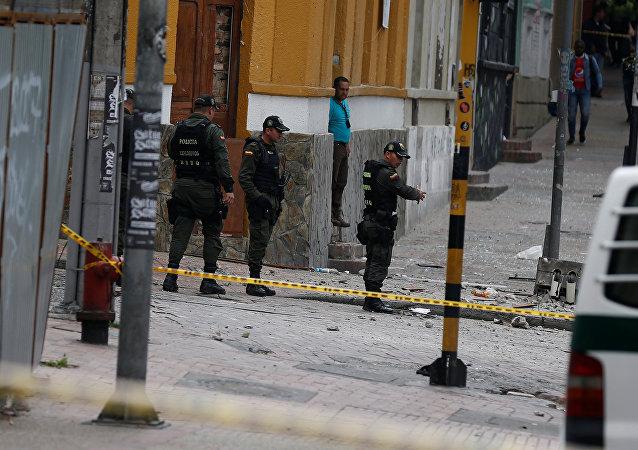 Lugar de explosión en Bogotá, Colombia
