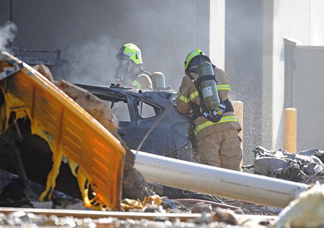 Los trabajos en el lugar del accidente en Melbourne