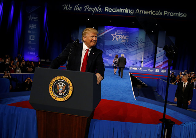 Trump takes the stage to address CPAC in Oxon Hill, Maryland