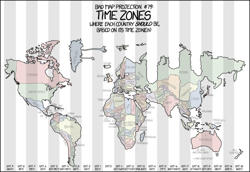 Mapa mal proyectado #79: los husos horario. Dónde debería estar cada país según su huso horario.