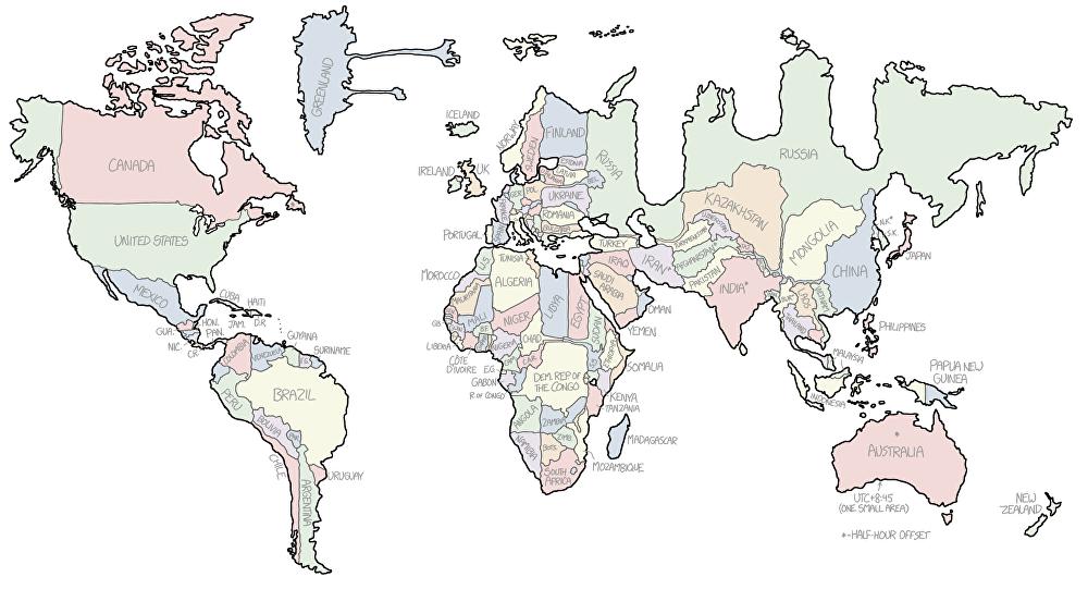Mapamundi: qué forma tendría tu país si dependiera de su huso ...