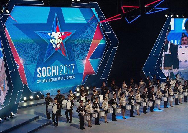 Сeremonia de apertura de los Juegos Militares en Sochi