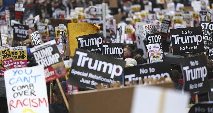 Una protesta antigubernamental en Nueva York