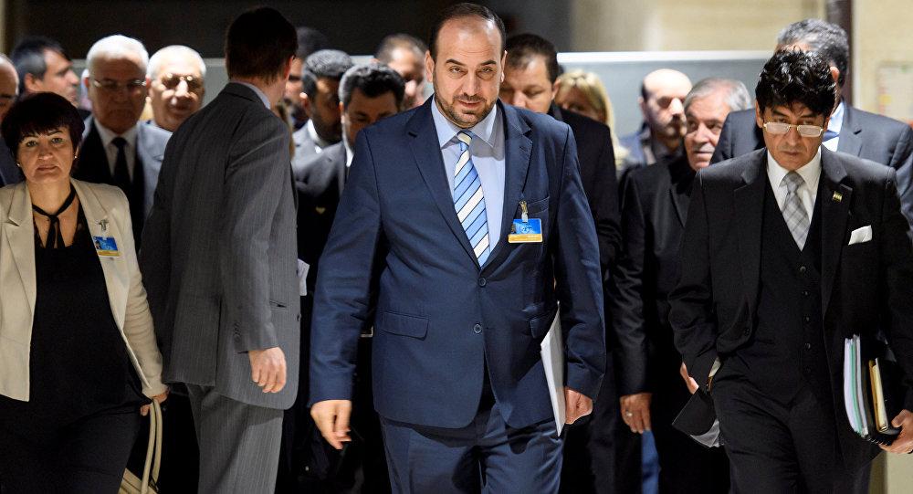 Naser al Hariri, jefe de la delegación del ACN en las negociaciones en Ginebra