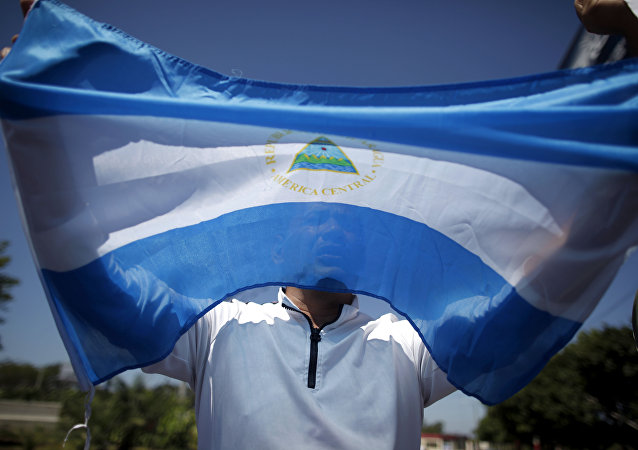 A man holds up a Nicaraguan flag during a demonstration against the presidential candidacy of Nicaragua's President Daniel Ortega in Managua, Nicaragua, Sunday, Feb 20, 2011.