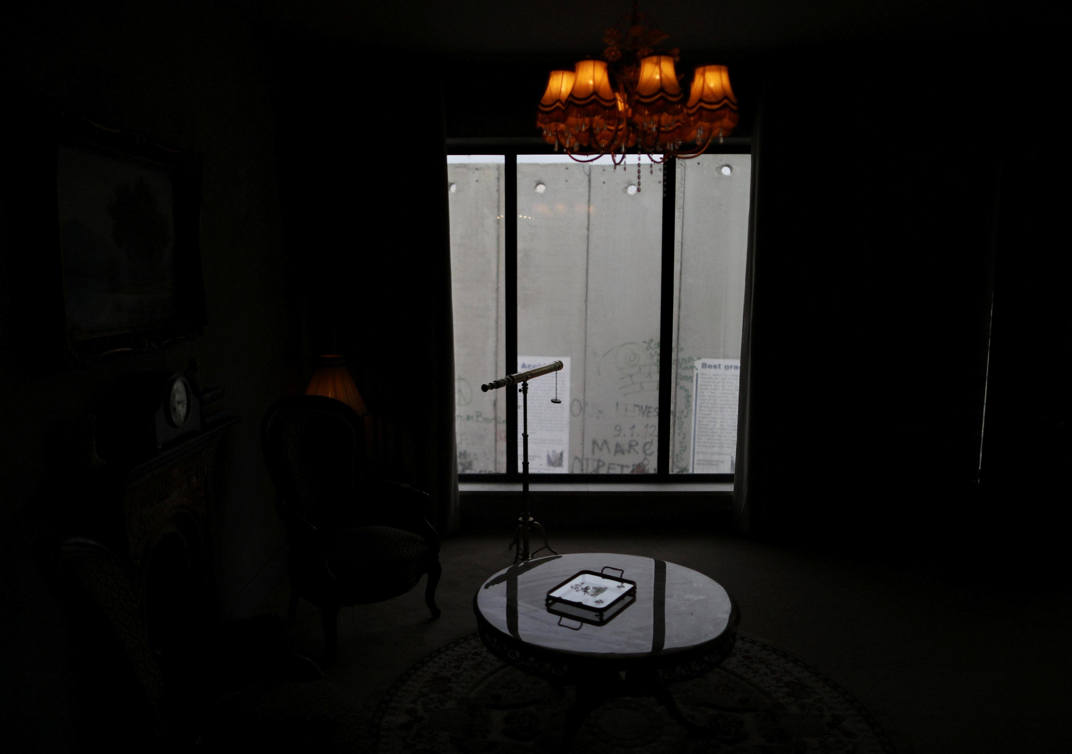 La vista desde la habitación de The Walled Off Hotel