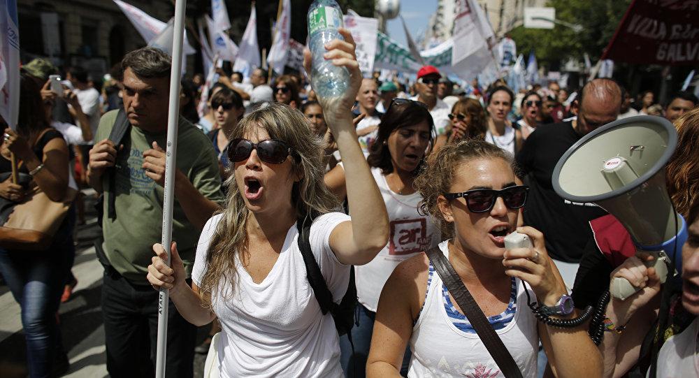 Docentes argentinos durante una protesta en Buenos Aires