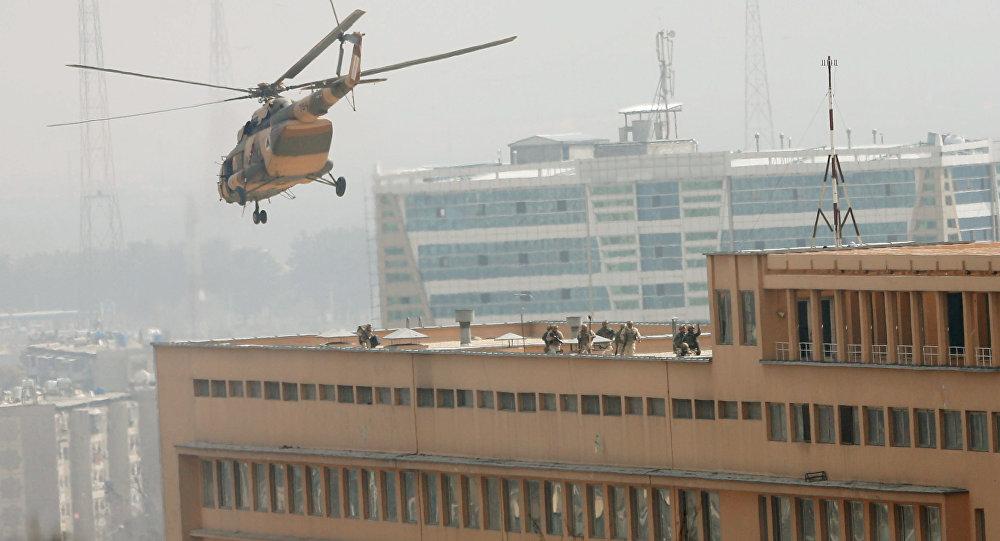 Operación de rescate en el lugar del ataque en kabul, Afganistán