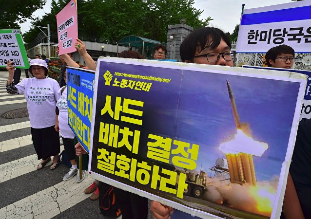 Protesta contra el despliegue del sistema THAAD en Corea del Sur (archivo)