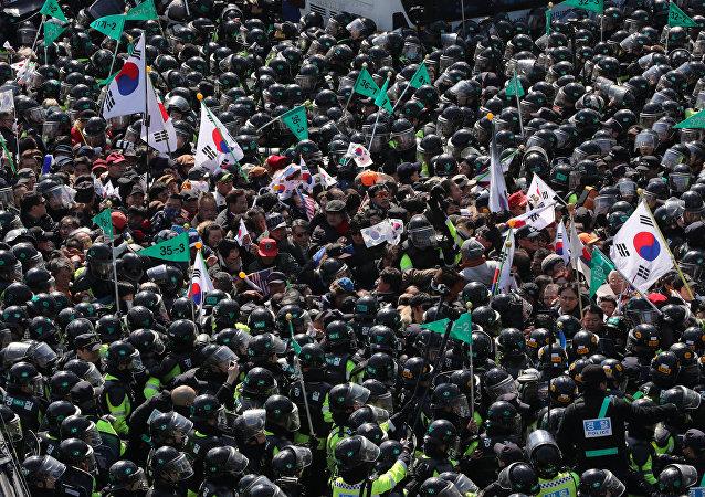 Protestas en apoyo de la expresidenta de Corea del Sur, Seúl