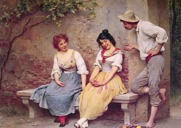 'El Coqueteo' por Eugene de Blaas