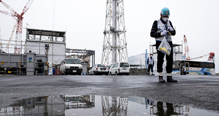 A member of the media uses a Geiger counter at Tokyo Electric Power Co.'s (TEPCO) Fukushima Daiichi nuclear power plant in Okuma, Fukushima, Japan