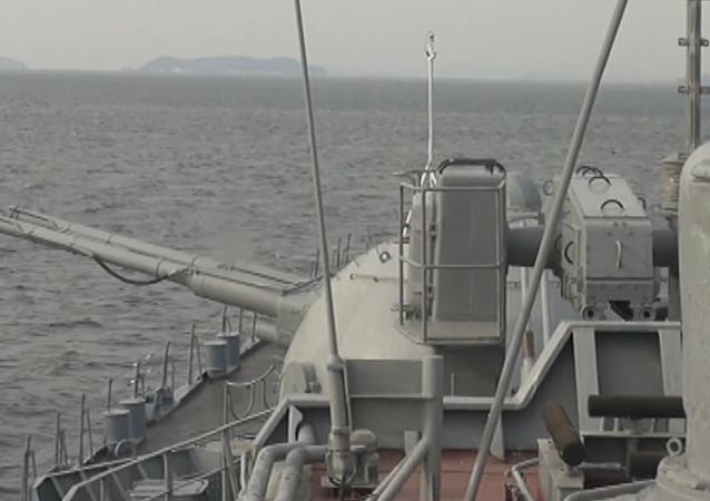 Destructor ruso Bistri realiza prácticas de tiro en el mar de Japón (vídeo)