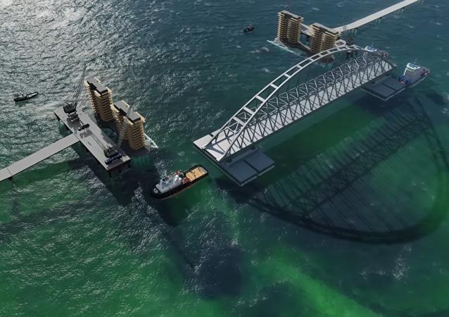 Construcción de la arcada del puente de Crimea